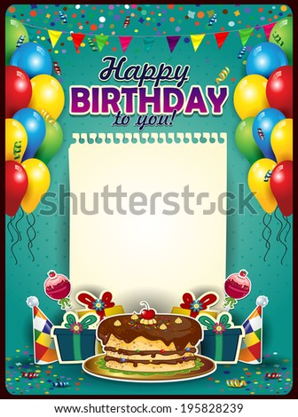 Happy Birthday with a sheet of paper vertically with balloons and cake-space to insert your text - stock photo