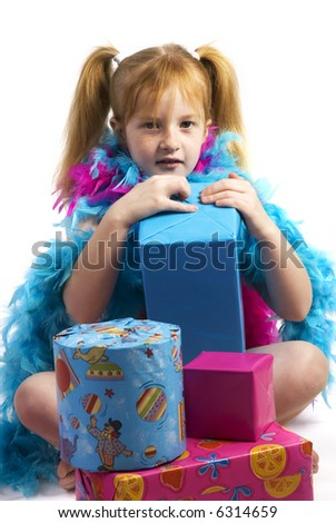 happy birthday with presents for the celebrating one - stock photo