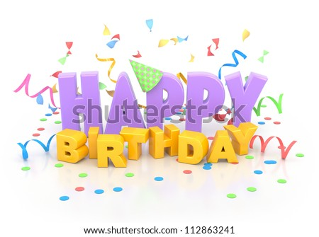 Happy birthday words with decorations on white. - stock photo