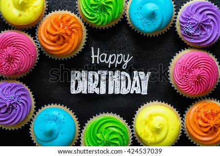 Happy Birthday written on chalkboard - stock photo