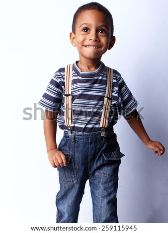 Happy black african child in studio. - stock photo