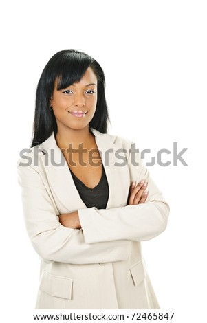 Happy black businesswoman with arms crossed isolated on white background - stock photo