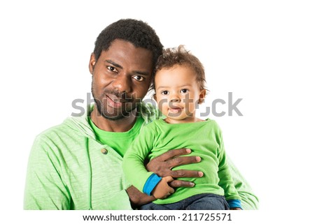 Happy black father and child boy cuddling on isolated white background. Use it for baby, parenting or love concept