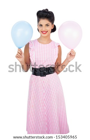 Happy black hair model holding balloons on white background