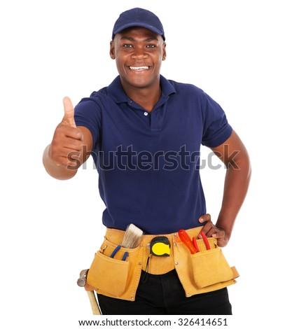happy black handyman giving thumb up on white background - stock photo