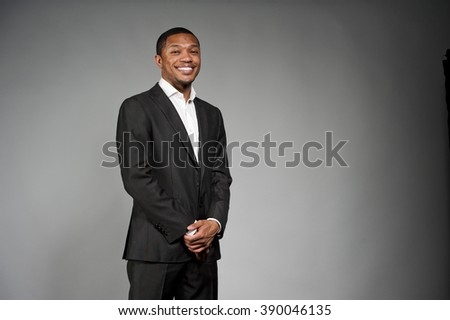 Happy Black Male In A Suit - stock photo