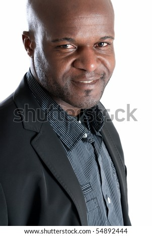 Happy black man portrait well dressed smiling isolated on white background - stock photo