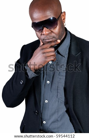 Happy black man well dressed smiling isolated on white background.