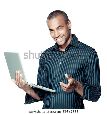 Happy black man with laptop - stock photo