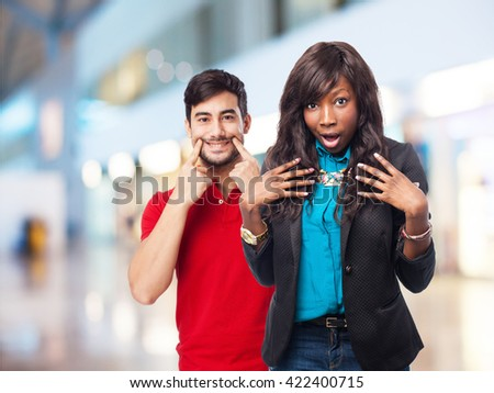 happy black-woman pointing helself - stock photo