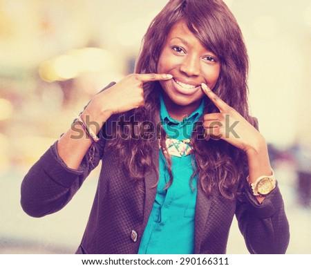 happy black-woman smiling - stock photo