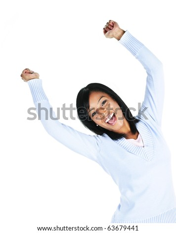 Happy black woman with raised arms isolated on white background