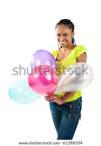 happy black women with the balloons - stock photo