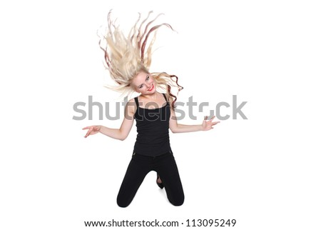 Happy blond girl on the isolated background - stock photo