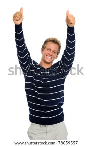 Happy blond man stretches his arms out with thumbs up, isolated on white - stock photo