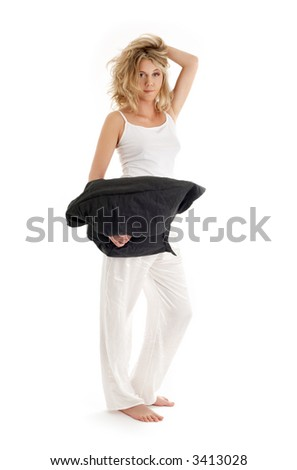 happy blond with black pillow over white