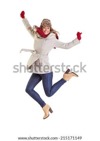 Happy blonde in winter clothes posing on white background - stock photo