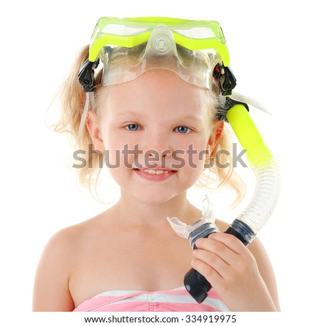 Happy blonde little girl with diving mask isolated on white background - stock photo