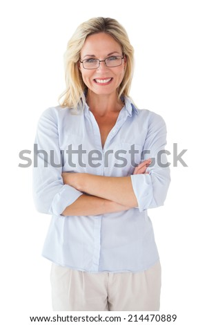 Happy blonde wearing reading glasses on white background - stock photo