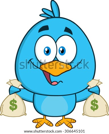 Happy Blue Bird Cartoon Character Holding A Bags Of Money. Raster Illustration Isolated On White - stock photo