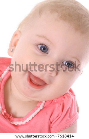 happy blue eyed baby - stock photo