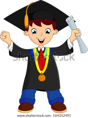 happy boy after graduation - stock photo