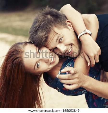Happy boy and girl - stock photo