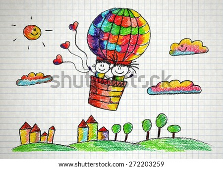 Happy boy and girl fly in big ballon. Colorful summer picture. Kids drawing
