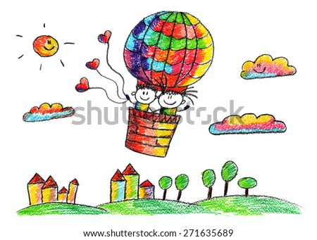 Happy boy and girl fly in big balloon. Colorful summer picture. Kids drawing