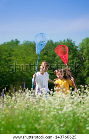 Happy boy and little girl with butterfly nets walking on a meadow in a sunny day