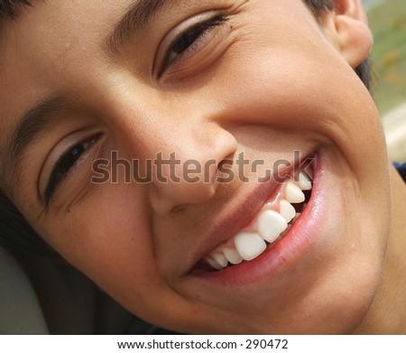 Happy boy, close up - stock photo