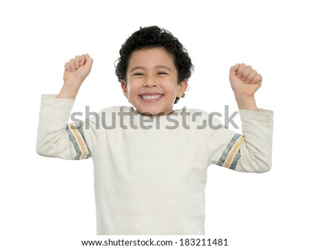 Happy Boy Excited With His Arms Up Isolated on White - stock photo
