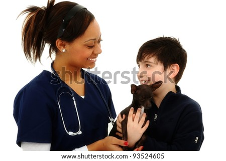 Happy Boy Gets Pet Chihuahua Back From Veterinarian over White Background - stock photo