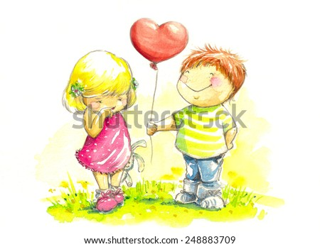 Happy boy giving to a girl gift for valentines day.Picture created with watercolors. - stock photo