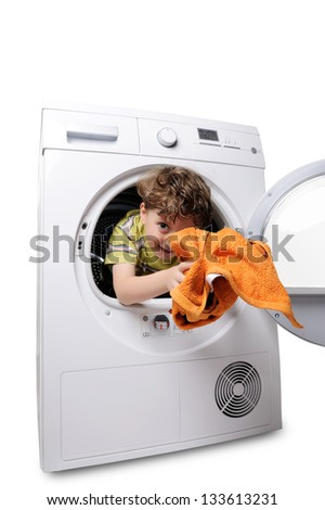 happy boy in the washing machine