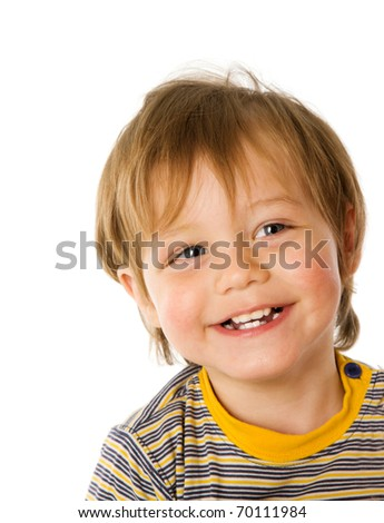 Happy Boy in three years age laughing isolated on white - stock photo