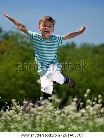 Happy boy jumping for joy on a meadow - stock photo