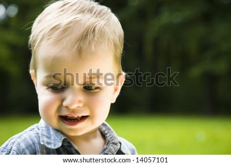 Happy Boy On Nature Background - stock photo