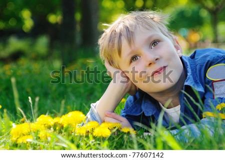 Happy boy on the  green grass - stock photo