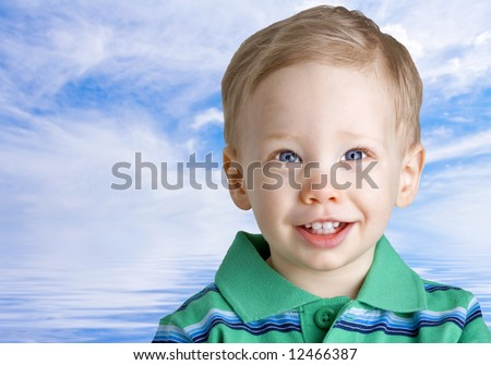 Happy boy over water and sky background