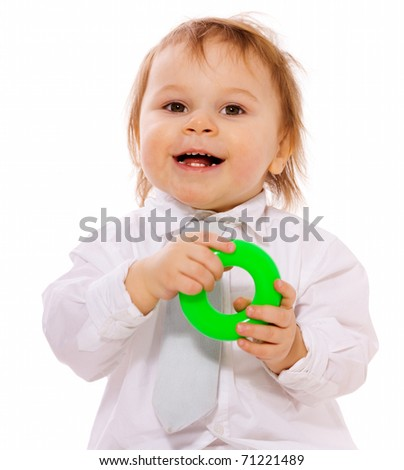 Happy boy playing and laughing isolated on white