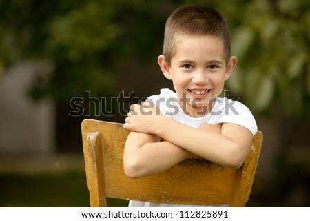 happy boy portrait - stock photo