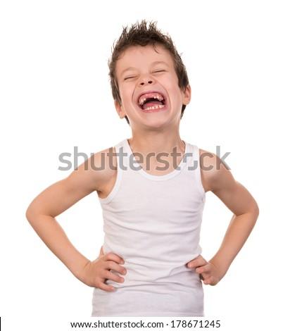 happy boy portrait on white - stock photo
