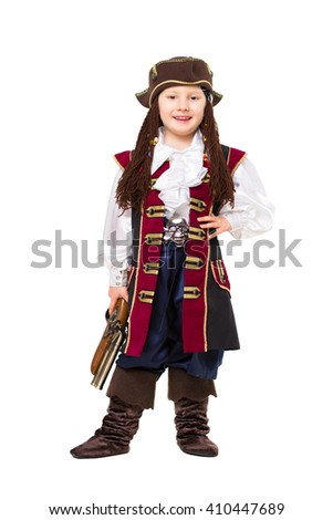 Happy boy posing in pirate costume with a gun. Isolated on white - stock photo