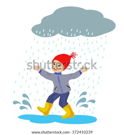 Happy boy running around in the rain puddles on white background