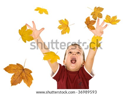 Happy boy shouting and reaching out for the falling autumn leaves - isolated, without motion blur - stock photo