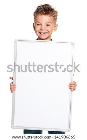 Happy boy showing blank placard board, isolated on white background - stock photo
