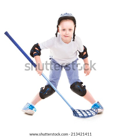 Happy Boy sport in suit with stick ready to play - stock photo