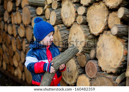 happy boy stacks wood in the country.   - stock photo