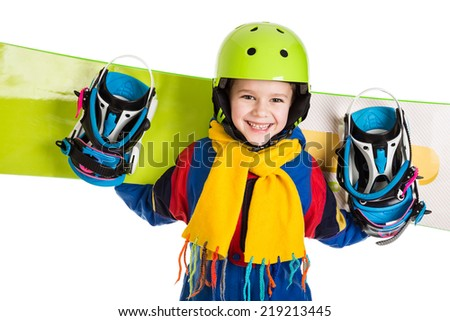 Happy boy standing with snowboard, isolated on white - stock photo